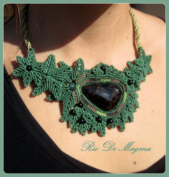Green Asymmetric Macrame Jewelry Leaf Necklace with large faceted Apache Tear Obsidian, Black Onyx and Moss Agate stone balls. One of a Kind