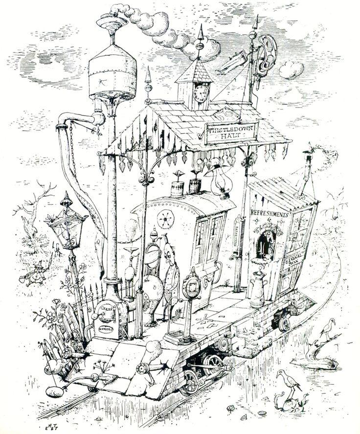 Rowland Emett en 1935 « The Early Morning Milk Train »