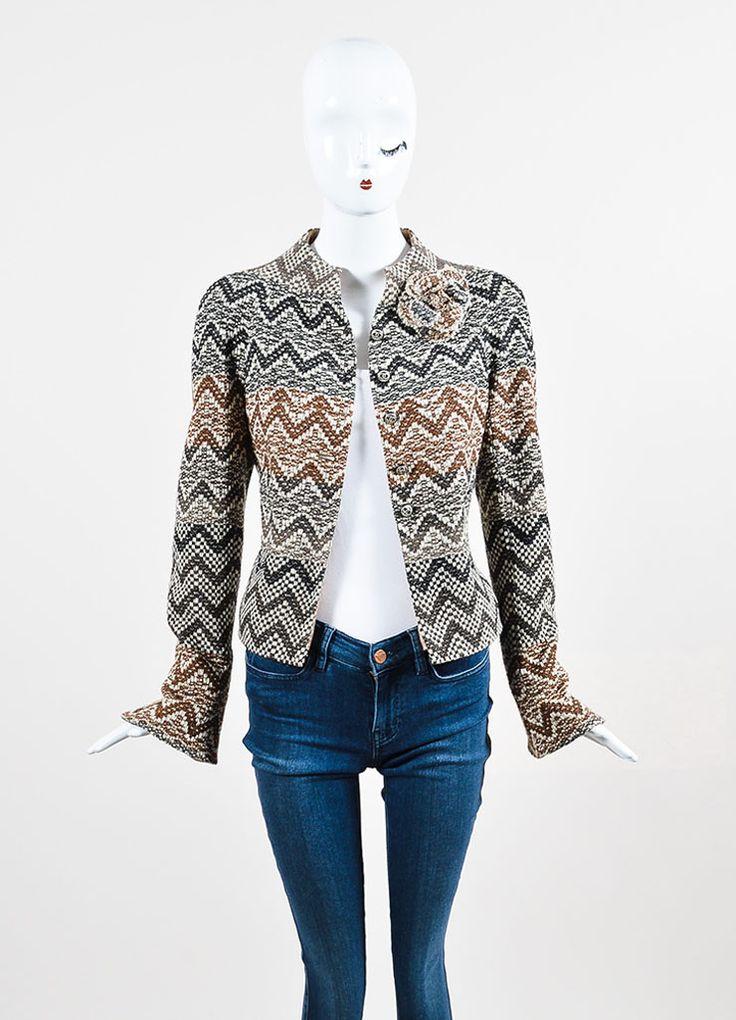 Brown and Cream Chanel Wool Tweed Chevron 'CC' Button Flower Jacket