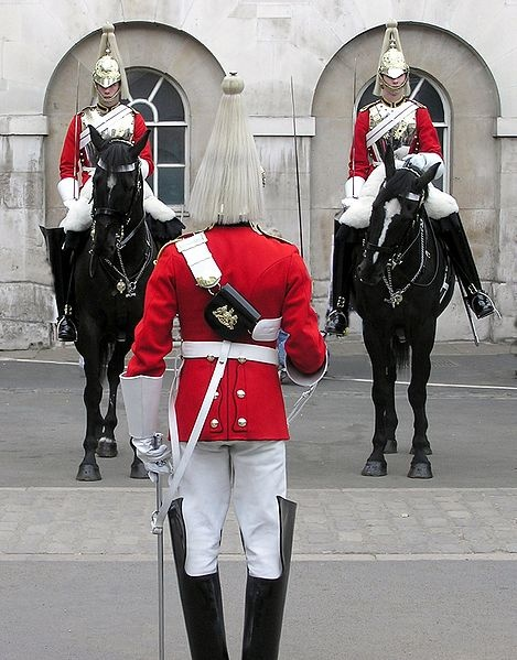 Life Guards of the Household Cavalry mounting the guard at Horse Guards, London.