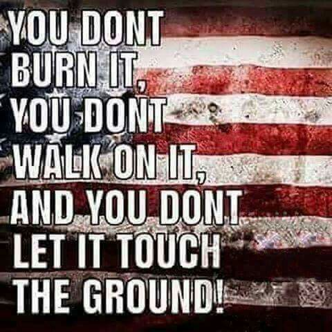 Old Glory. You don't burn it. You don't walk on it. And, you don't let it touch the ground.