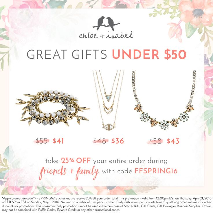 Shop great gifts at 25% OFF with our Friends + Family code! Www.chloeandisabel.com/boutique/tracyzayas