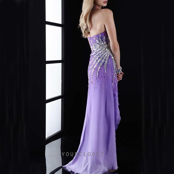 #purple #prom #dress Charming strapless beading chiffon evening dress #coniefox #2016prom