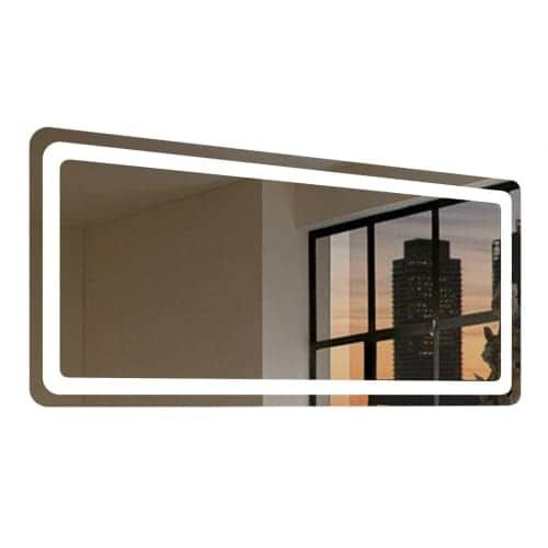 "Miseno MM6036LED 60"" W x 36"" H Rectangular Frameless Wall Mounted Mirror with LED Lighting, Silver aluminum"