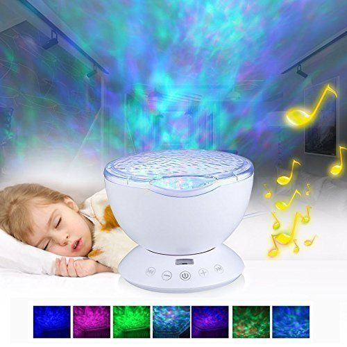 Kids Night Light Projector with Music - Aelite Ocean Wave Plasma Lamp LED Night Light Lamp for Nursery 12 LED & 7 Colors Changing with Speaker(White)
