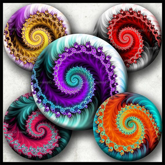 INSTANT DOWNLOAD Colorful Fractals 745 4x6 1 inch round