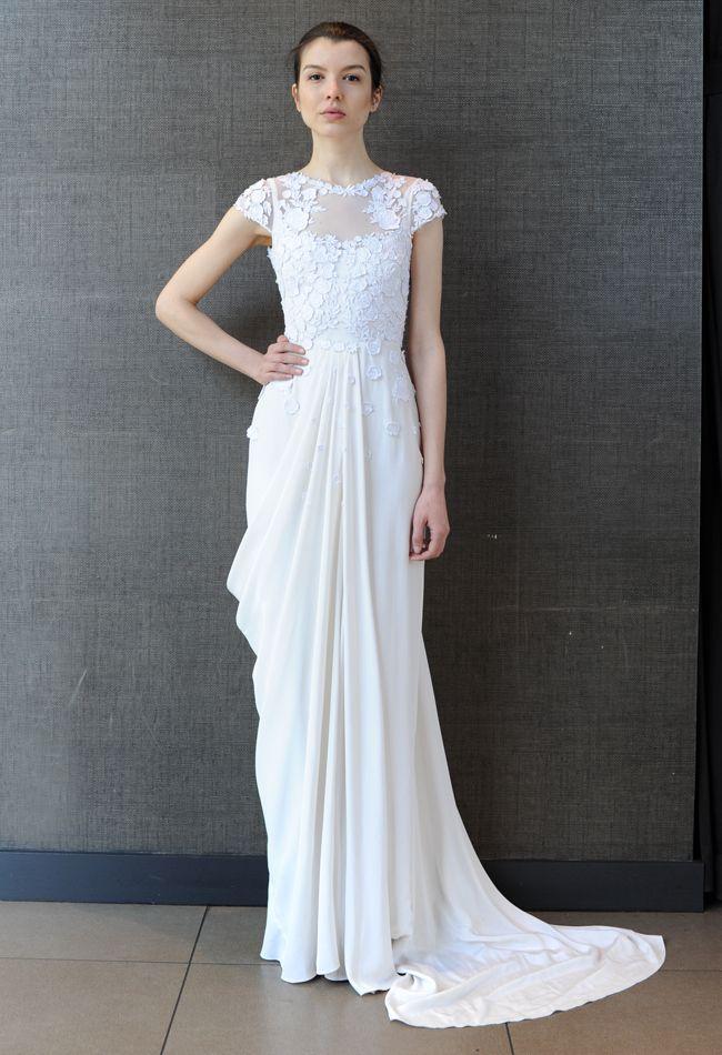 Floral Applique Cap Sleeve Wedding Dress | Temperley Bridal Iris Summer 2015 Collection | The Knot Blog