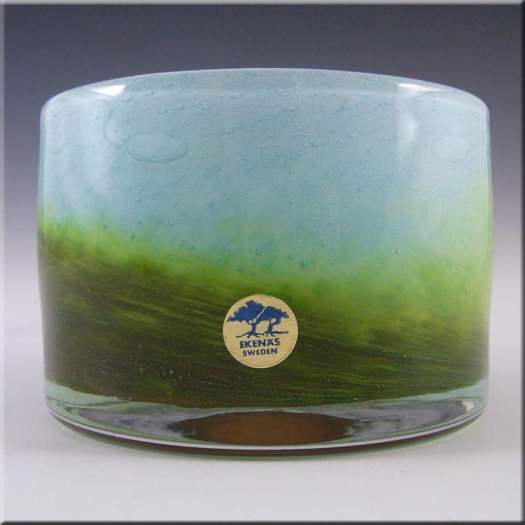 Ekenas Blue + Green Glass Vase - Signed John-Orwar Lake - £71.99