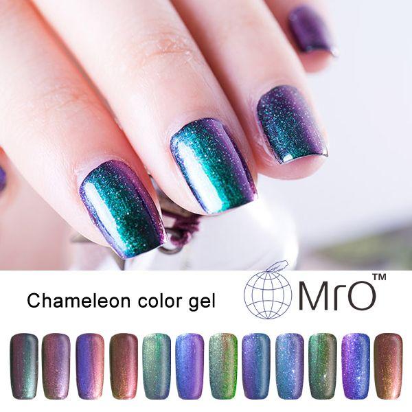 2016 unhas de MRO 2 unids/lote uv color esmalte de uñas de gel es un camaleón esmaltes permanentes de uv esmalte de uñas que cambia color