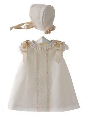 Conjunto para bebé de vestido y capota para bautizo y ceremonia