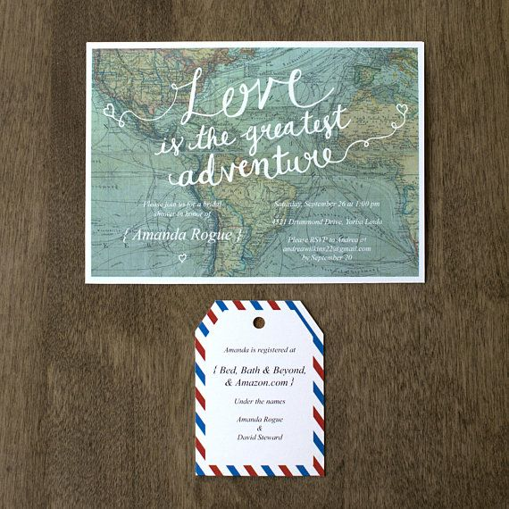 276b8324acde Love is the Greatest Adventure Bridal Shower Invitation Printable ...