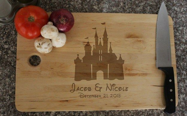 This Disney castle cutting board.   23 Magical Kitchen Gadgets Every Disney Lover Should Own