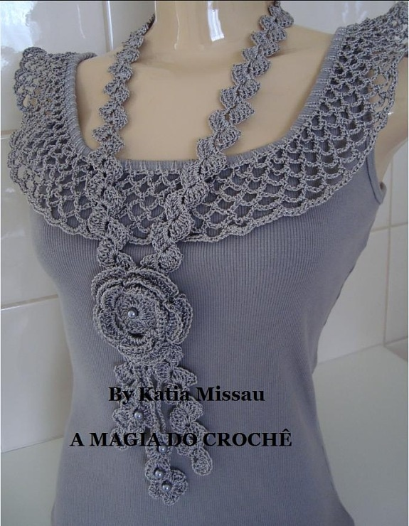 simple tank with crochet collar. Great way to use sharp crochet hook!