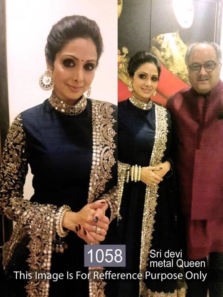 buy saree online Sridevi Black Joya Silk Bollywood Inspired Suit Buy Saree…