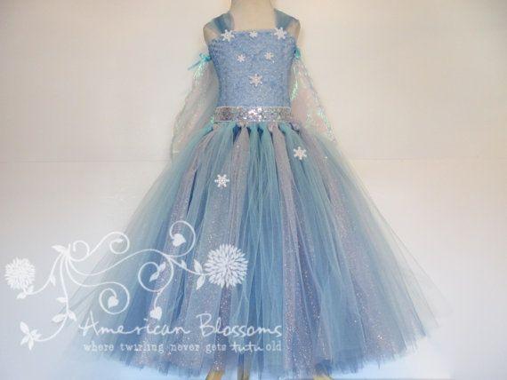 Elsa Costume Tutu Dress Cape Train Girls by AmericanBlossoms