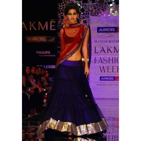Blue Velvet Choli & Satin Net Ghagra online shopping
