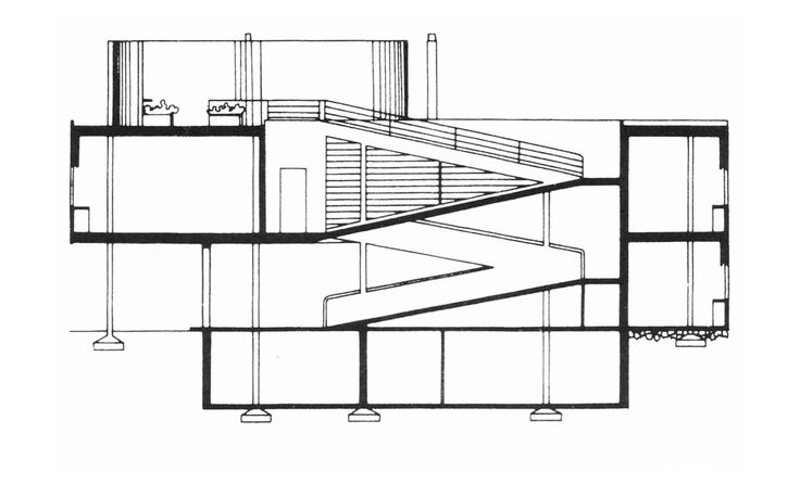 Setion. Villa Savoye, Le Corbusier's machine of inhabit.