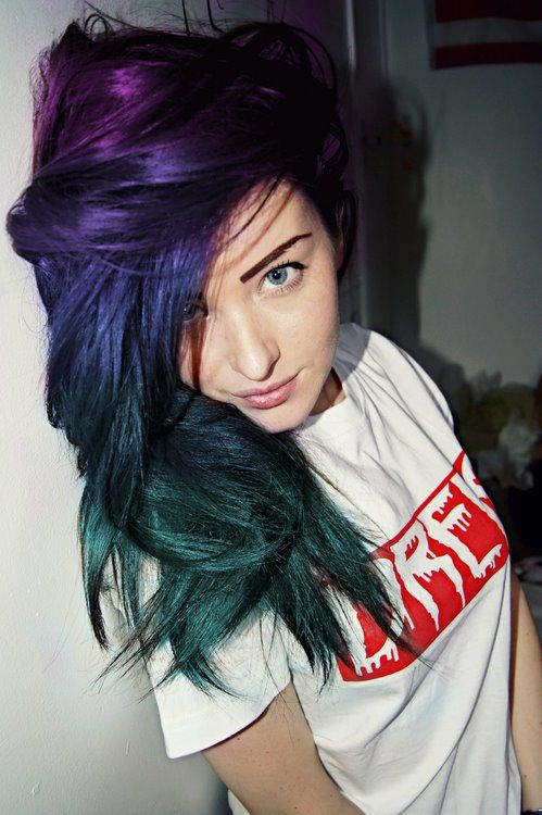 Hair colored  violet purple blue green