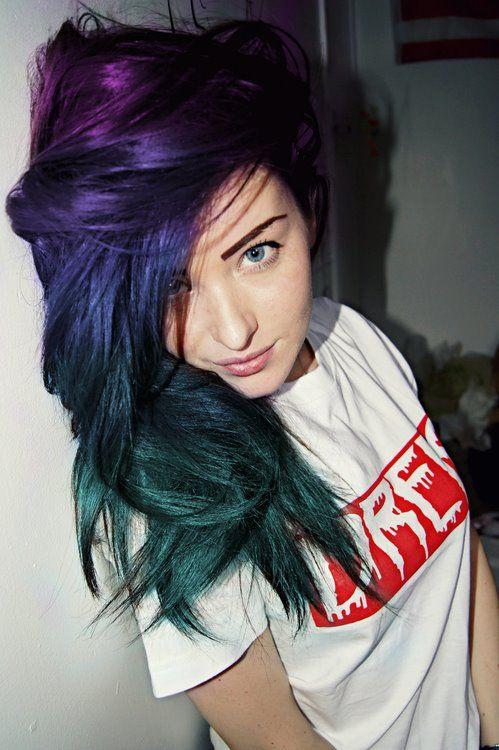 purple & blue & green hair
