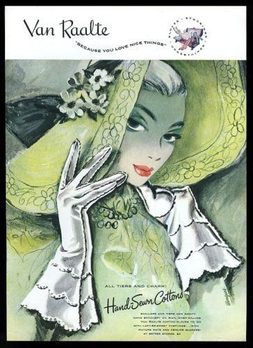 1948-Van-Raalte-womens-white-gloves-green-hat-vintage-print-ad