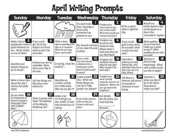 FREE Printable April Writing Prompts Calendar ~ Perfect
