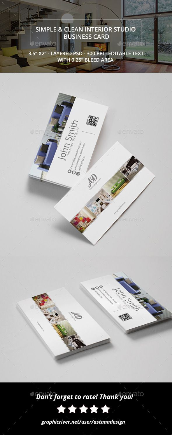 PSD Simple & Clean Interior Design Business Card  Template • Only available here ➝ http://graphicriver.net/item/simple-clean-interior-design-business-card/10688381?ref=pxcr