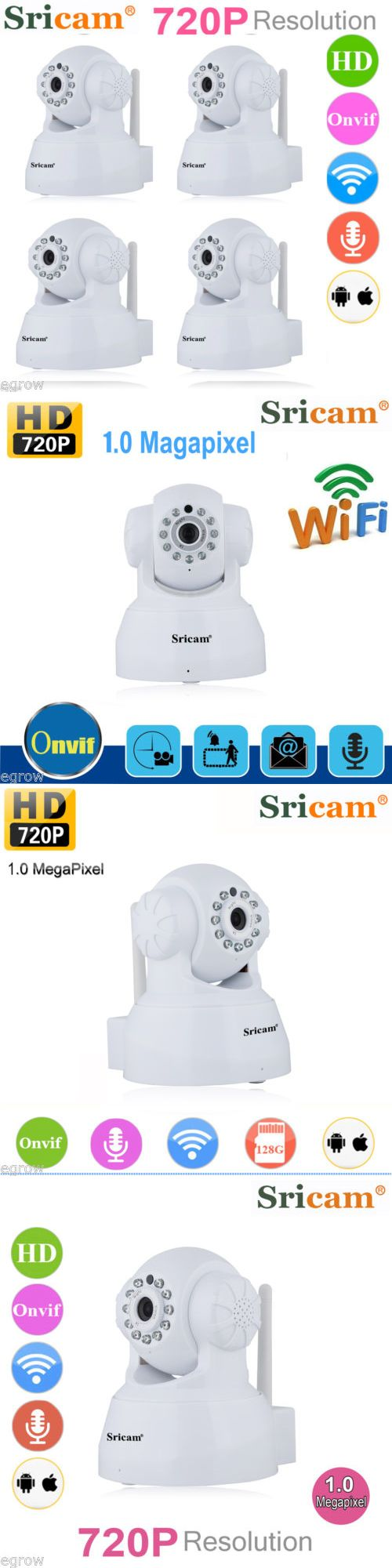 Security Cameras: Sricam 720P Hd 4 Ip Wireless Wifi Ir Night Vision Home Security Camera System -> BUY IT NOW ONLY: $99.99 on eBay!