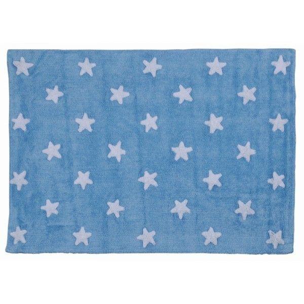 Tappeto azzurro con stelline bianche  #Lorena Canals