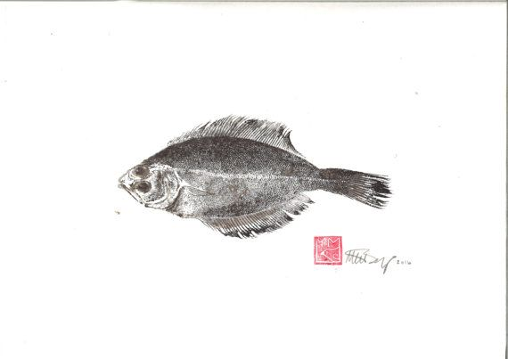 gyotaku fish print original washi paper by maritmoss on Etsy