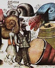 Jiří Šalamoun: ilustrace k detektivce Patricka Quentina Záhada pro blázny (výřez), 1976