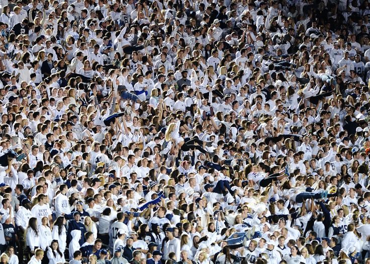 PENN STATE – FOOTBALL 2013 – STUDENTS did inverse pushups after each Lion score.