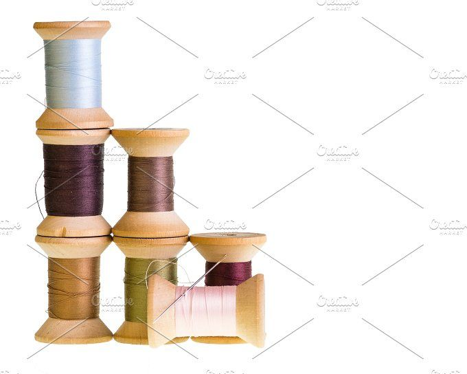 Wooden spools of thread by Zigzag Mountain Art on @creativemarket