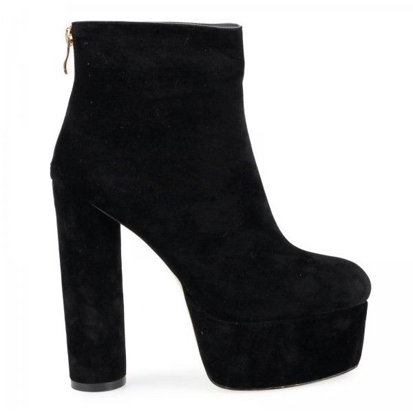Katrina Chunky Platform Boots In Black Faux Suede ($24) ❤ liked on Polyvore featuring shoes, boots, chunky black boots, faux-suede boots, black mid calf boots, chunky-heel boots and kohl boots
