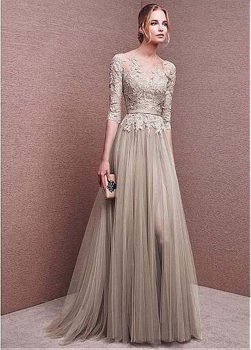 Marvelous Tulle Bateau Neckline Half Length Sleeves Slit A-line Evening Dresses With Lace Appliques