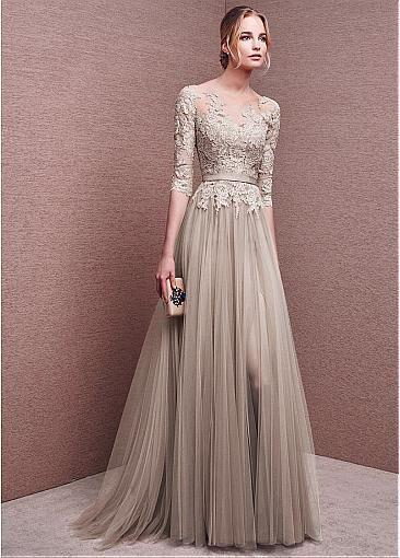 Marvelous Tulle Bateau Neckline Half Length Sleeves Slit A-line Evening Dresses With Lace Appliques