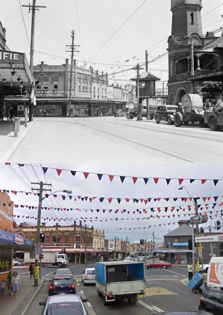 The intersection of Darling Street and Victoria Road in 1940 and 2009. Rozelle Post Office to the right was demolished in 1959 for the widening of Victoria Road. [1940: National Archives of Australia - 2009: Google Street View/by Phil Harvey]