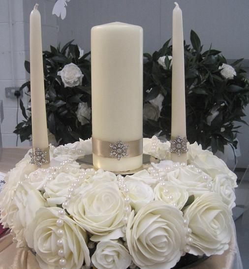 table decorations for unity candles | Unity Candle & Floral Ring and if you need a marriage officiant call me at (310) 882-5039 https://OfficiantGuy.com