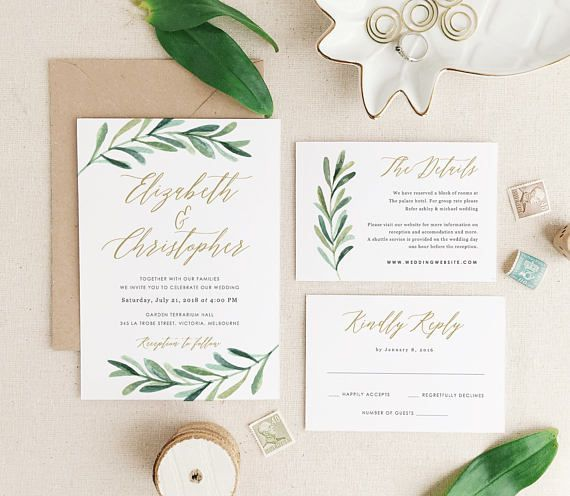 Greenery Wedding Invitation Template • Printable Wedding Invitations • Invitation Suite • Edit in Word or Pages