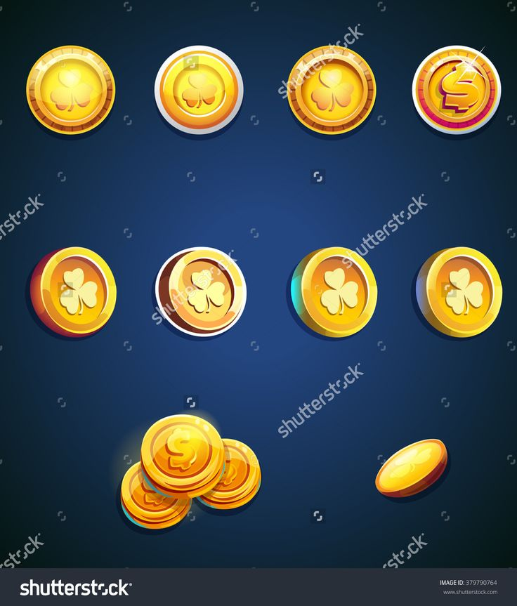 Set of cartoon coins for web, game or application interface. Modern vector illustration art