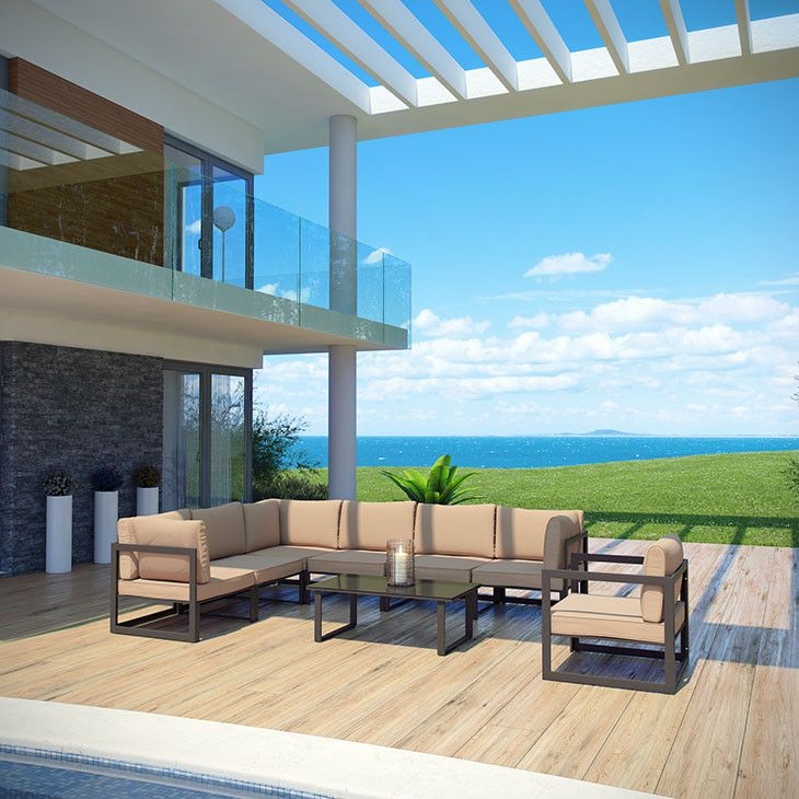 Modway Furniture Modern Fortuna 8 Piece Outdoor Patio Sectional Sofa Set #design #homedesign #modern #modernfurniture #design4u #interiordesign #interiordesigner #furniture #furnituredesign #minimalism #minimal #minimalfurniture