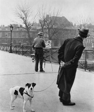 Robert Doisneau  Fox terrier on the Pont des Arts  1953                                                                                   Such an artist to depict Paris's life in the 50's