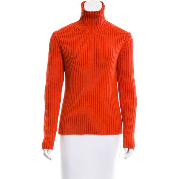 Pre-owned Michael Kors Wool Turtleneck Sweater (185 NZD) ❤ liked on Polyvore featuring tops, sweaters, orange, long sleeve tops, long sleeve turtleneck, woolen sweater, long sleeve sweater and wool sweaters