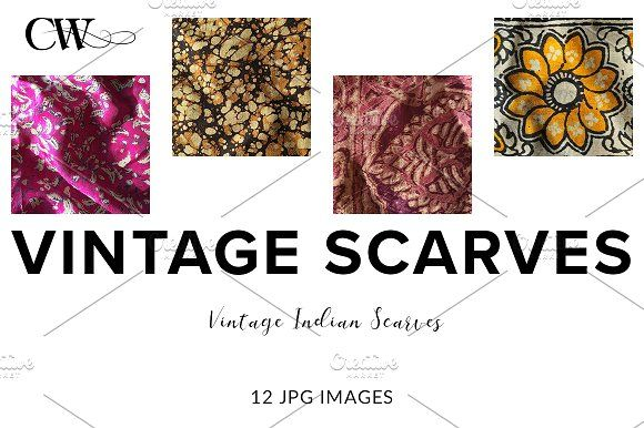 Vintage Indian Scarves by CoutureWeb on @creativemarket