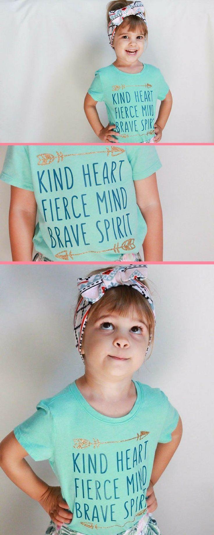 """Little girl t-shirt """"kind heart, fierce mind, brave spirit"""" Love the tribal shirts! #girl #girlpower #littlegirl #girlfashion #commissionlink"""