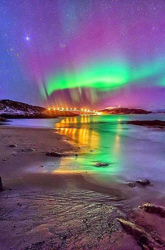 Aurora Aurora borealis, Sommaroy, Norway Aurora moonset