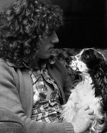 """Roger Daltrey & dog-friend Rover, which inspired Jimi Hendrix's """"Fire"""" lyric, """"Move over Rover, and let Jimi take over"""", the song was also inspired by Roger's wife at the time, Heather."""
