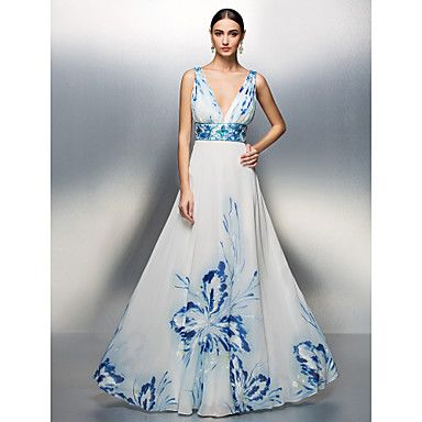 TS Couture Formal Evening / Prom / Military Ball Dress - Print Plus Sizes / Petite A-line / Princess V-neck Floor-length Chiffon – USD $ 129.99