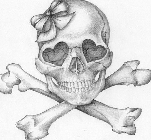 Girly skull tattoo idea sketch. Think this is cute with a pink