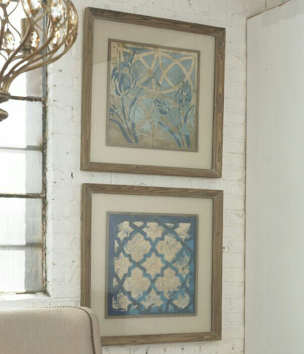 Uttermost stained glass indigo art set of 2 41512