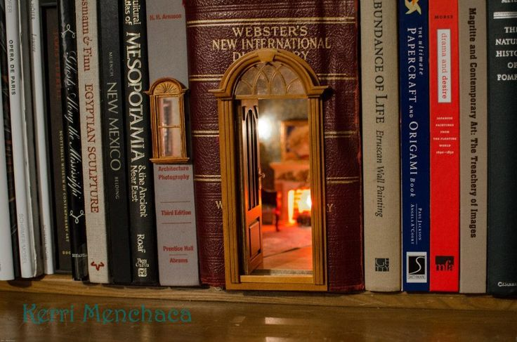 hidden miniature room on a bookshelf. Oh, I need to figure out how to make this or ask my mother-in-law!!!!